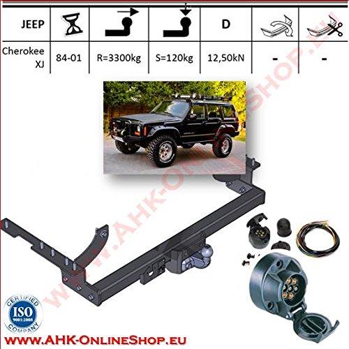 ATTELAGE avec faisceau 7 broches   Jeep Cherokee de 1988 à 1997 / crochet «col de cygne» démontable avec outils