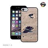 Case Creatives Fußabdrücke im Sand   Handgefertigt   iPhone 7, 8 (4,7')   Schwarze Hülle   Extra Grip + Stoßfest