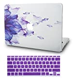 KECC MacBook Air 13 Pollici Custodia Case Rigida w/ Keyboard Cover Protettiva per MacBook Air 13.3 {A1466/A1369} (Purple Flower)