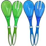 COM-FOUR ® 4Set di posate da insalata in blu e verde per servire il suo koestlichen salate