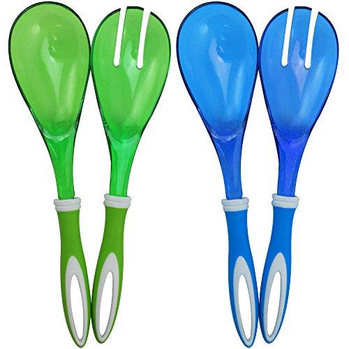 COM-FOUR® ensemble de saladiers en bleu et vert pour servir vos délicieuses salades (04 pièces - bleu/vert)