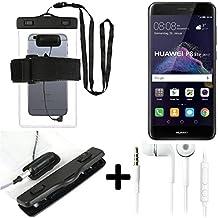 Estuche estanco al agua con entrada de auriculares para Huawei P8 Lite 2017 Single SIM + auricular incluido, transparente | Trotar bolsa de playa al aire libre caja brazalete del teléfono caso de cáscara bajo playa - K-S_Trade (TM)