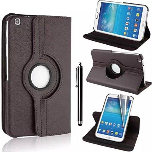 Samsung Galaxy Tab 3 8.0 Case - Braun PU Leder Schutz Hülle 360° drehbar Case für Samsung Galaxy Tab 3 8.0 Zoll SM-T310 Lederhülle Tasche Flip Cover Etui Grün Schutzhülle mit Schwenkbar flexiblem Ständer + Displayschutzfolien und Stylus