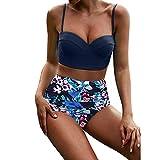 VJGOAL Damen Bikini, Bikini Damen Set Push Up Frauen Sexy Sling Hohe Taille Bedruckte Badehose Nationaler Stil Badeanzug Bikini(Blau,S)