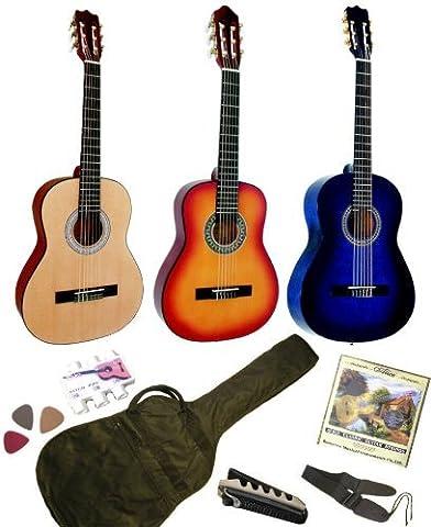 Pack Guitare Classique 3/4 (8-13ans) Pour Gaucher Avec 6 Accessoires (bleue)