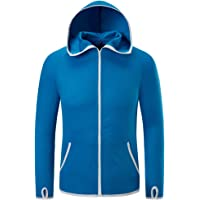 Volwassan Men's Lightweight Running Jacket with Hood Breathable Cycling Jacket Plus Size Soft Fishing Jacket Softshell…