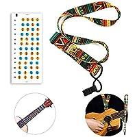 Soprano Ukelele Starter Kit para principiantes, ukelele set correa y trastes pegatinas, Con correas.