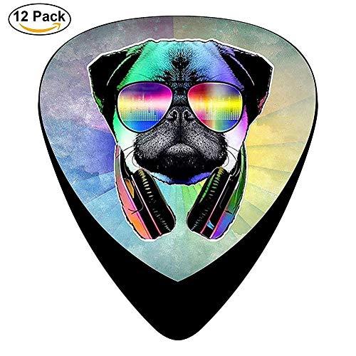DJ Mops Hund mit Kopfhörer Sonnenbrille Celluloid E-Gitarren Picks12 Stück Für E-Gitarre, Akustikgitarre, Mandoline und Bass