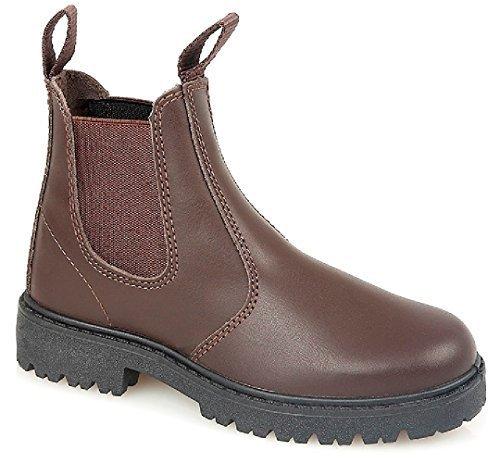 Kids Jungen Leder Chelsea Dealer Stiefelette Pull auf Kinder Schule Schuhe Größe Braun