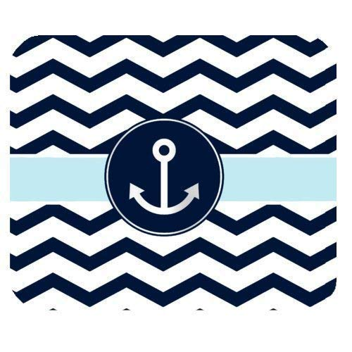 Navy Blue and White Chevron with l Anchor Non-Slip Rubber Mousepad 7.08X8.66 inches/18X22 cm Gaming Mouse Pad (Mini-maus Chevron)