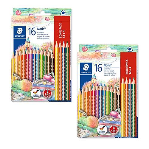 Staedtler Noris Club 127 NC12P1 Buntstifte, erhöhte Bruchfestigkeit, kindgerecht nach DIN EN71, PEFC-Holz, Set mit 12 brillanten Farben + 4 gratis | 2 Stück