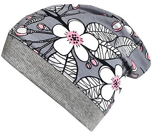 Wollhuhn Öko Mädchen Leichte Sakura Kirschblüten Beanie-Mütze Grau/Rosa 20181017, Größe XXS: KU 36/40 (bis ca 6 Mon.) (Baby Beanie Grau)