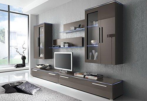 Anbauwand 6-tlg. Hochglanz grau, 2 x TV-Element, 2 x Hängevitrine, 2 x Glasbodenpaneel, Mindestbreite: ca. 300 cm, Tiefe: ca. 40 cm