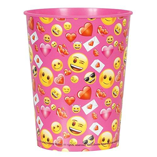16oz Emoji plástico SAN VALENTÍN taza