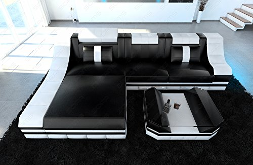 Luxus Sofa TURINO L-Form schwarz-weiss - 3