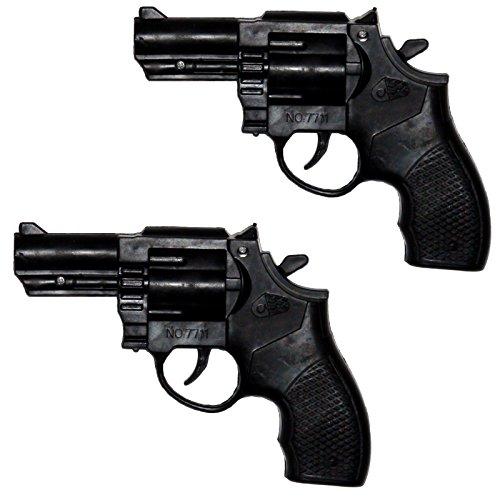 Unbekannt 2 x Ratterpistole Polizeipistole Pistole knattert Revolver für Kostüm Polizist Gangster (Gangster Revolver)