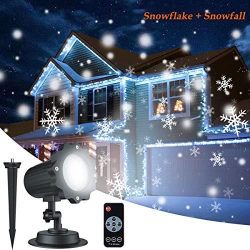 Dingcaiyi Proyector Navidad LED Nieve Luz Proyector
