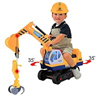 Smibie 2 in 1 Ride On Digger Toy Excavator for Kids With Helmet and Shovel Arm Claw (Yellow)