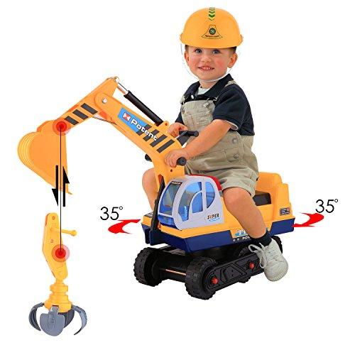 Smibie Bagger | Sitzbagger mit Helm und Zwei Grabs , Kinderfahrzeug Zum Draufsitzen für Kinder ab 3 Jahre