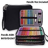 Estuche grande de piel sintética con 184 ranuras para lápices de colores, organizador de lápices impermeable, estuche de 4 capas para lápices negro