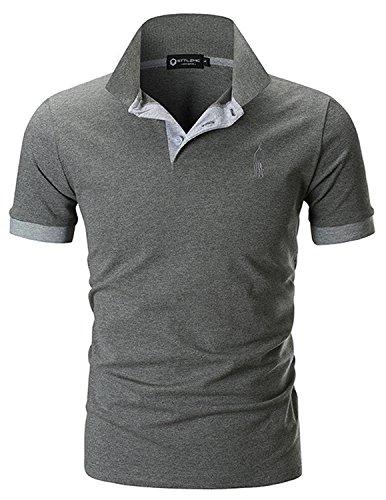 STTLZMC Herren Poloshirt Kurzarm Einfarbig Basic Polohemd S-XXL (3XL, Grau 1) (T-shirt Grau Herren)