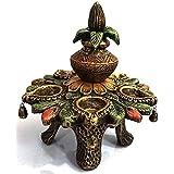 Shree Decorative Items Handmade Home Decorative Terracotta Kalash Lamp 5 Diya Aarti With Stool In Antique Finish