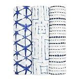 aden + anais indigo shibori, silky soft Pucktuch, Musselin aus 100% Bambusfaser, 120cm X 120cm, 3er Pack