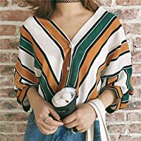 VICOLDER Striped Loose T Shirt Women V-Neck Long Sleeve T-Shirt Workwear Batwing Sleeve Shirts Autumn Tee Tops Female