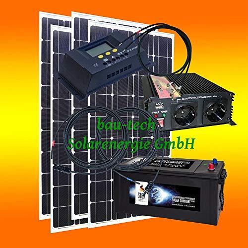 520 Watt Insel Solaranlage für Garten und Hobby. Komplett SET inklusive Montagematerial für Flachdach von bau-tech Solarenergie GmbH