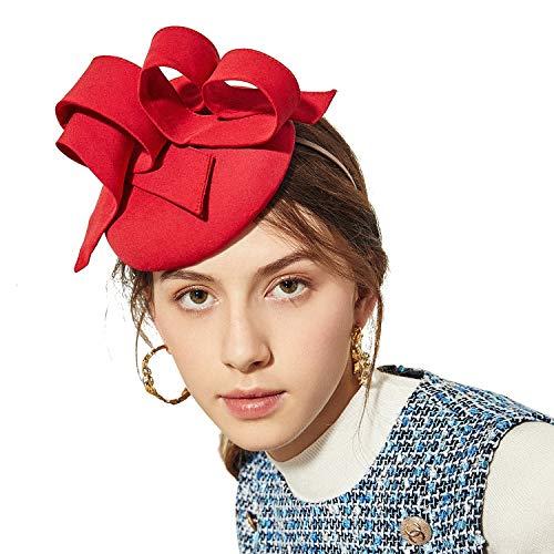 Deevoov Sinamay Hochzeit Rot Fascinator für Frauen Mädchen Mode Schleifen Abnehmbar Stirnband Rennen königlich Ascot Bunker Cocktail Party Derby Hut