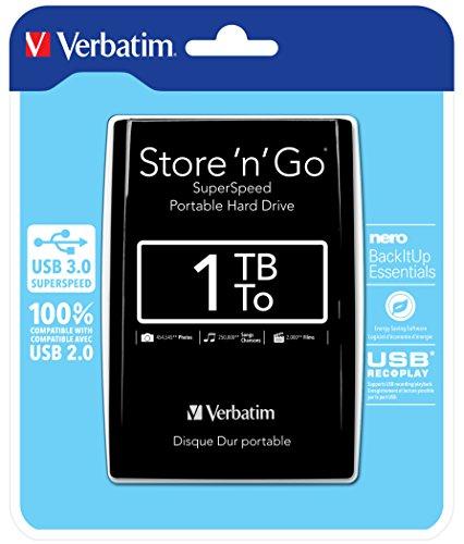 Verbatim 53023 - Disco Duro Externo de 1000 GB, Negro