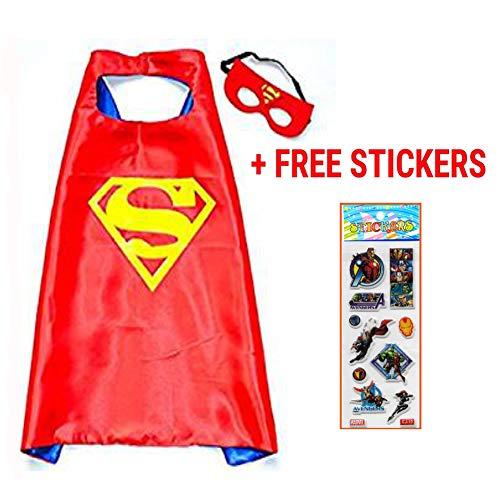squishybean 1Set Kinder Cape und Masken Superman Kostüme Super Hero Kleid bis Superman Kostüme Avengers Superman Fancy ()