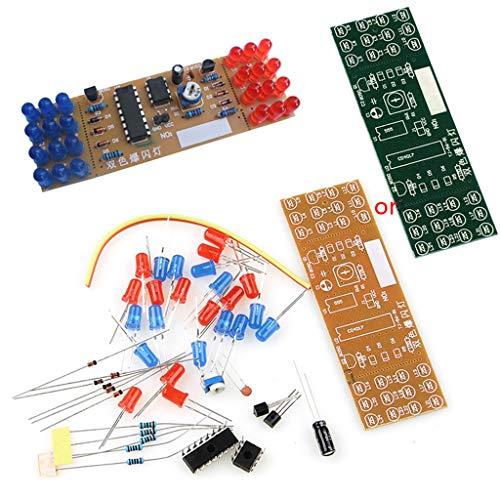 BIlinli NE555 + CD4017 Dual LED Rot Blau Strobe Blinklichter DIY Kit DC 9V - 12V Dual Strobe