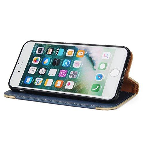Coque iPhone 7 , Motif Rose Étui Protection Wallet PU en Cuir Housse la Haute Qualité Pochette Anti-rayures Couverture Bumper Rabat Magnétique Antichoc Cuir Véritable Case Anfire Cover pour AppleiPhon Bleu