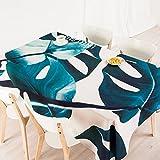 140*180cm Beige Bleu turquoise Feuille scandinave moderne Instagram Nappe en coton et lin pique-nique Table de salle à manger rectangulaire carrée respectueux de l'environnement couvrant