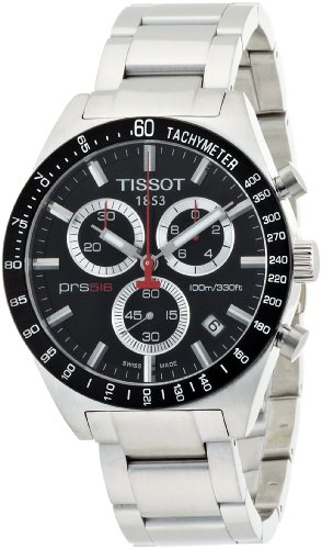 TISSOT T0444172105100 PRS 516 Retro Chronograph Men's Watch,Black/Silver