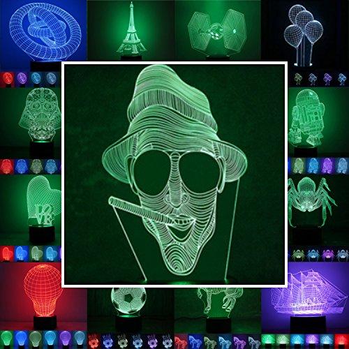 3D Lampe 3D Leuchte 3D LED Stimmungslicht. 7 Farben - 81 verschiedene Motive, hier Mann ca.21x12cm inkl.Sockel - 3D Illusion Dekolicht mit USB Anschluß und 220V USB Netzteil