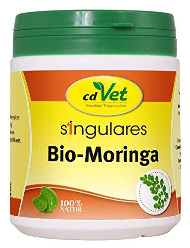 cdVet Naturprodukte Singulares Bio-Moringa 200 g - Hund, Katze, Pferd Kaninchen - Einzelfuttermittel - Reich an Vitaminen+Nährstoffen+Aminosäuren+ Eisen - aus ökologischem Anbau - 100% Bio-Moringa -