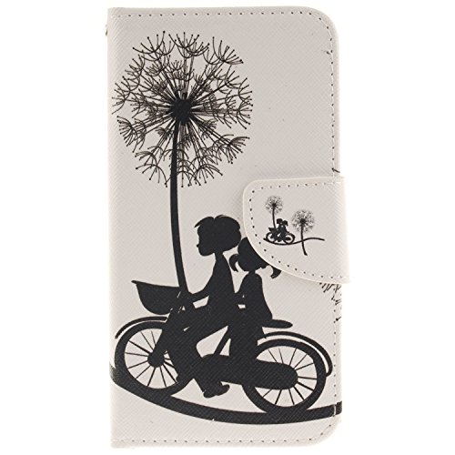 Anlike für LG G5 (5,3 Zoll) Hülle / Handyhülle / Schutzhülle / Ledertasche / Tasche / Case / Cover / Flip Brieftasche / Bookstyle mit Standfunktion Kredit Karteneinschub und Magnetverschluß - Liebhaber Fahrrad