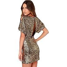 ShallGood Donna Sexy Rotondo Collo Paillettes Bodycon Mini Vestito Elegante  Manica Corta Senza Schienale Abiti Corti 30a509106d3