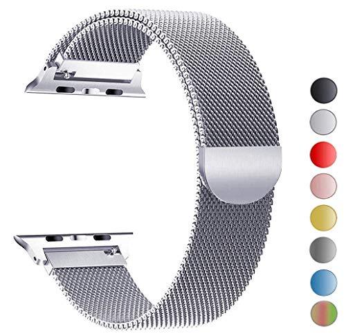 Tervoka Ersatz Armbänder für Apple Watch Series 4 44mm und Series 3/2/1 42mm Silber Milanese Mesh Loop mit Magnetverschluss Edelstahl Armband