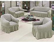 طقم اغطية اريكة تركي من القطن - رمادي