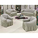 Cotton Turkish Sofa Cover Set - Gray