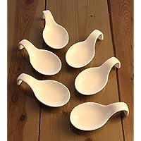 idea-station 6 Stück Porzellan Diplöffel, Griff nach unten gebogen, 9,5 cm, weiß - Servier-Löffel zur idealen Präsentation jedes Buffet, kleiner Vorspeisen und Highlights Ihres Buffets oder Party