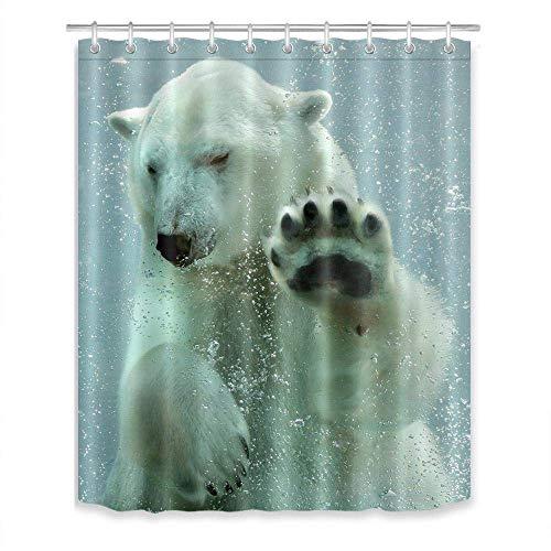 LB Süßes Tier Duschvorhang Eisbär, der unter Wasser schwimmt Polyester Stoff Lang Bad Vorhänge Wasserdicht Anti Schimmel Badezimmer Deko Heimzubehör mit Vorhanghaken,180X200cm - Wasserdicht Schwimmt