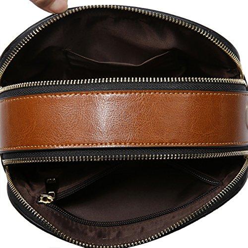 Valin Q0812 Damen Leder Handtaschen Satchel Tote Taschen Schultertaschen Braun