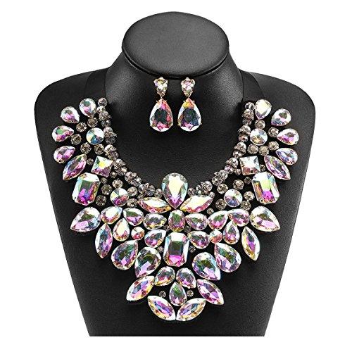 Holylove Damen Statement Halskette Kristall, Costume Schmuck für Damen Neuheit Mode Halskette Ohrringe 1 Set mit Geschenkbox- HL8455EE Crystal