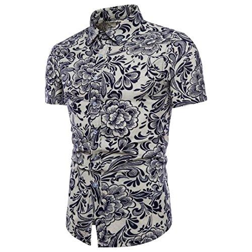 GreatestPAK T-Shirt Übergröße Leinen T-Shirt Männer Bohè Floral Kurzarm Top Bluse,L,Weiß