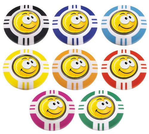 YELLOW SMILEY SMILE VEGAS STYLE POKER CHIP GOLF BALL MARKER. YELLOW OUTER.