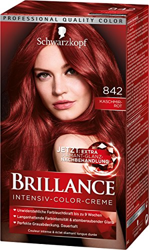Schwarzkopf Brillance Intensiv-Color-Creme, 842 Kaschmirrot Stufe 3, 3er Pack (3 x 143 ml)